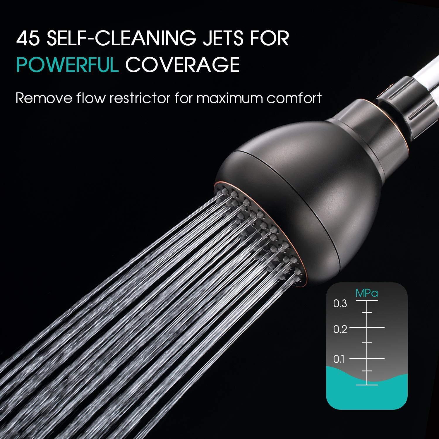 High Pressure Shower Head - 3 inch Anti-Clog Anti-Leak Fixed Chrome Showerhead - Adjustable Metal Swivel Ball Joint with Filter - Ultimate Shower Experience Even at Low Water Flow & Pressure