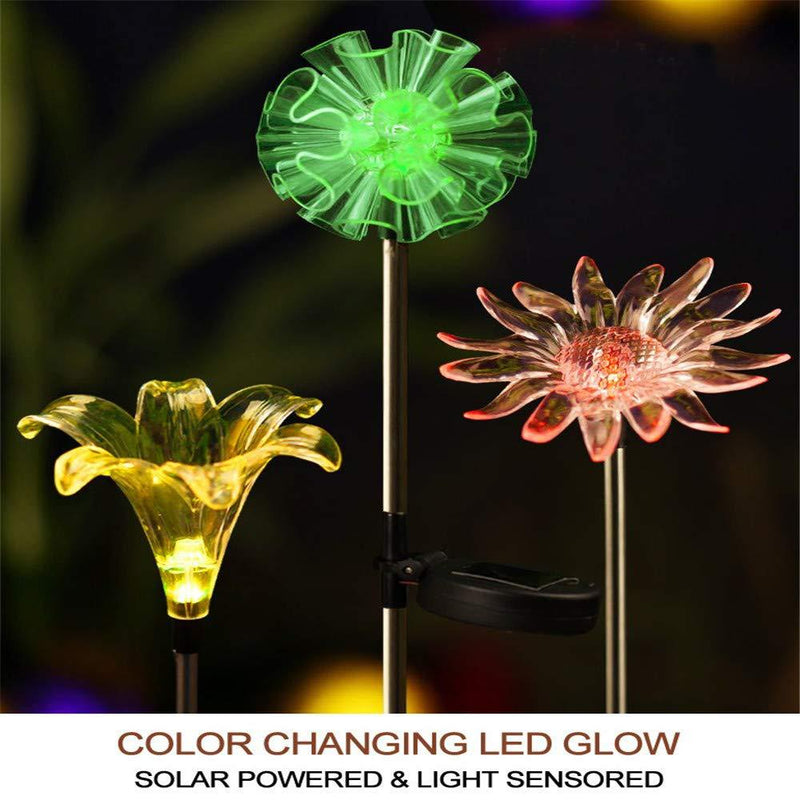 [Set of 3] LED Color Changing Solar Stake Lights Outdoor - Solar Light LED Garden Decor Statues (Dandelion, Lily, Sunflower) - Patio Lights LED Outdoor Multicolor Changing LED Lights