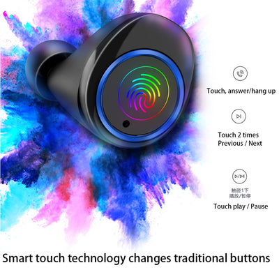 WS Wireless Earphones V5.0 Realtek Touch Control Earbuds IPX7 Waterproof Headphones With Power Display 3500mAh Power Bank
