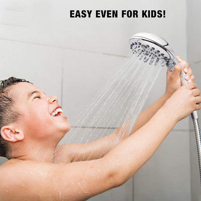 "High-Pressure Handheld Shower Head 6-Setting - Luxury 5"" Handheld Rain Showerhead with Hose - Powerful Shower Spray Even with Low Water Pressure in Supply Pipeline - Low Flow Rainfall Shower-Head"