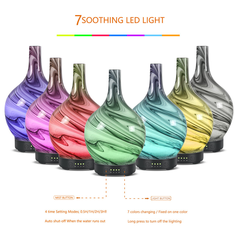 Aromatherapy Essential Oil Diffuser, Ultrasonic Cool Mist Oil Diffuser, Whisper Quiet Humidifier with Time Setting and 7 Colors LED Lights Changing for Home Office Yoga SPA 100 ml