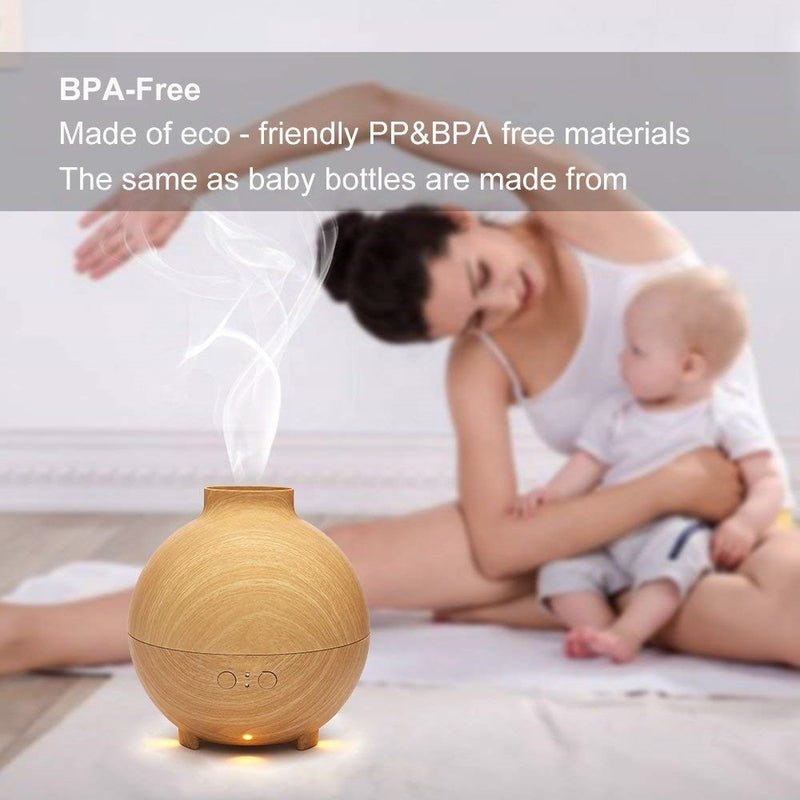 600ml Aromatherapy Essential Oil Diffuser, Wood Grain Cool Mist Humidifier with Adjustable Mist Mode and Last Overnight