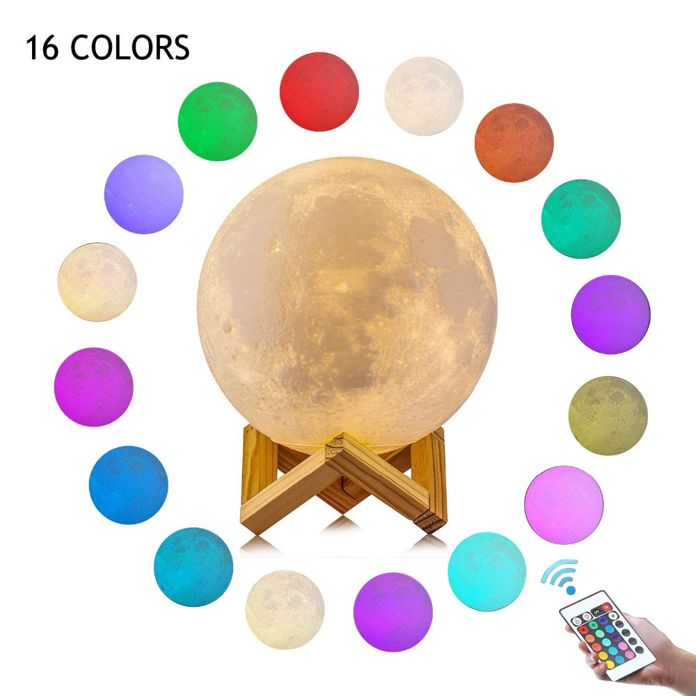 3D Print creative novelty gift moon lamp USB LED Night Light 3d moon lamp manufacturer with 15cm 16 Color Remote Control