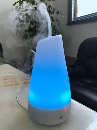 2nd Version Essential Oil Diffuser Aroma Essential Oil Cool Mist Humidifier with Adjustable Mist Mode,Waterless Auto Shut-off and 7 Color LED Lights Changing for Home (White)