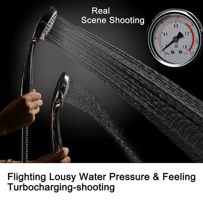High Pressure Handheld Shower Head with Powerful Shower Spray against Low Pressure Water Supply Pipeline, Multi-functions, Bathroom Accessories w/ Hose, Bracket, Flow Regulator