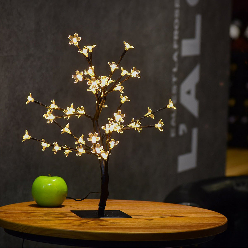 Bonsai Cherry Blossom Tree Light 48 LED Soft Crystal Cherry Flower Black Branches Smart Timer Battery Operated Adjustable for Desk Window Ideal Décor Party Festival Spring Summer Night