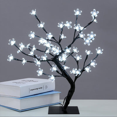 Operated LED Cherry Blossom Tree Lights (6hr Timer) - Bonsai Lighted Tree - Lighted Cherry Blossom Tree Light Tabletop LED Tree Lamp - Home Decor Artificial Plants Light