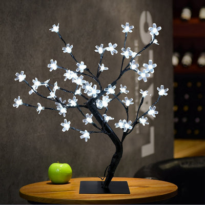 "18"" Battery Operated LED Cherry Blossom Tree Lights (6hr Timer) - Bonsai Lighted Tree - Lighted Cherry Blossom Tree Light Tabletop LED Tree Lamp - Home Decor Artificial Plants Light"
