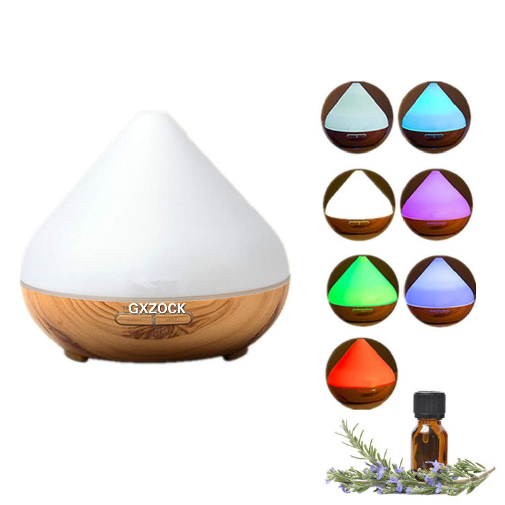 Ultrasonic 300ml Diffuser Humidifier, 300ml Aromatherapy Essential Oil Diffuser, 4 Timer Setting Cool Mist Aroma Diffuser (Up to 10H Use, BPA-Free, Waterless Auto-Off, 7 Color LED Lights)-Wood Grain