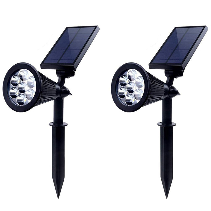 2 Pack Solar Spot Lights 7 LED Outdoor Waterproof Garden Patio Yard Driveway Wall Tree Lawn Flower Beds Landscape Wireless Spotlight, Ground/Wall Mounted