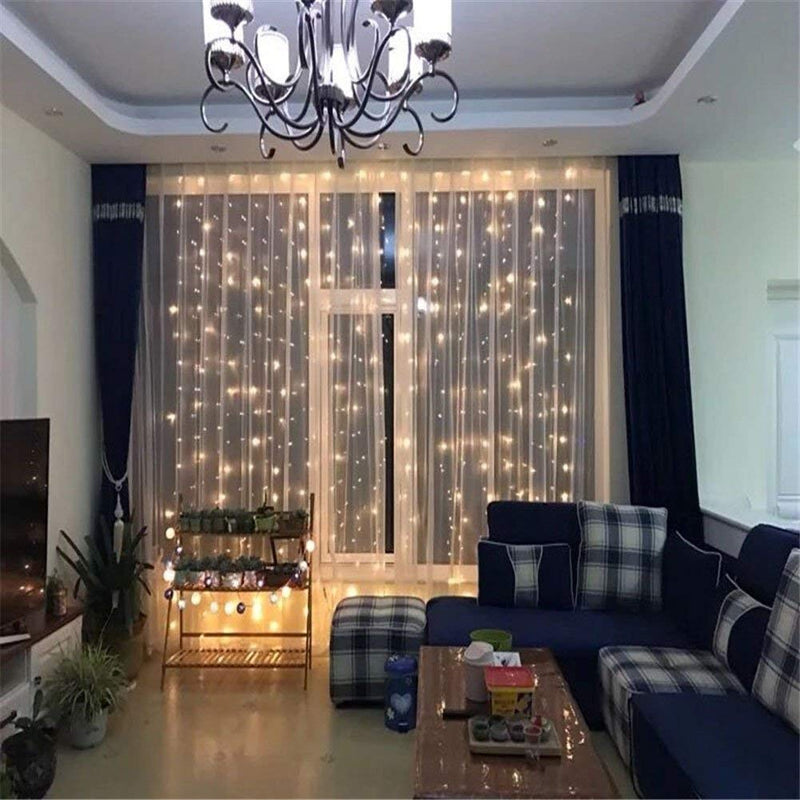 10 Ft Window Curtain Icicle String Lights with Remote & Timer, 300 LED Fairy Twinkle Lights with 8 Modes Fits for Bedroom Wedding Party Backdrop Outdoor Indoor Wall Decoration, Warm White