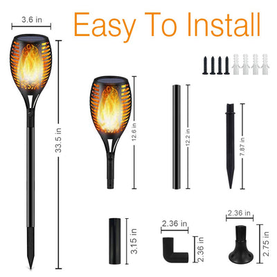 Solar Lights,Waterproof Flickering Flames Torches Lights Outdoor Solar Light Landscape Decoration Lighting Dusk to Dawn Auto On/Off Security Torch Light for Pathway, Patio, Yard, Garden (2 Packs)