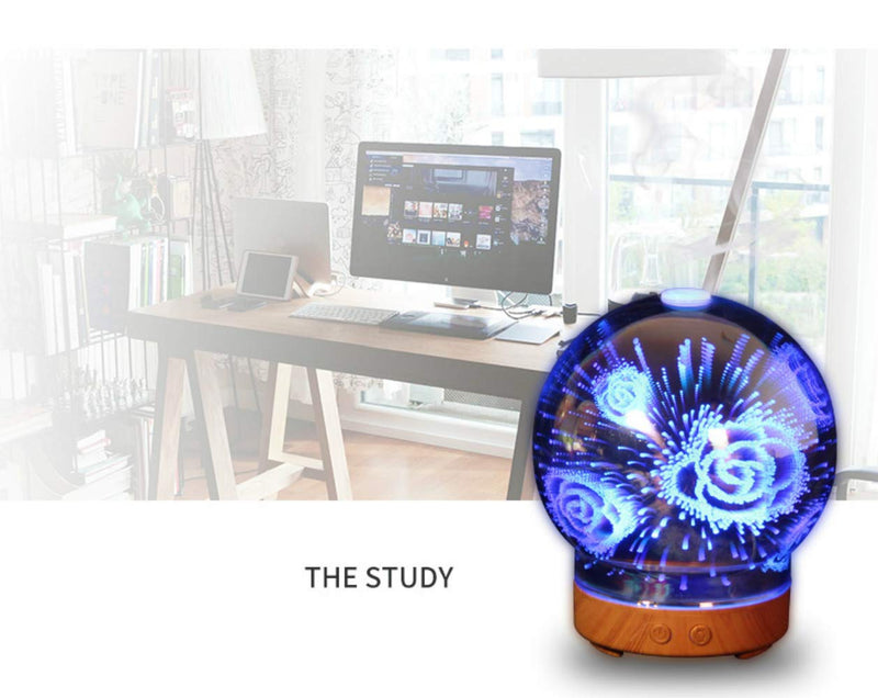 Essential Oil Diffusers Ultrasonic Humidifier Portable Aromatherapy Diffuser with Cool Mist and 7 Colour Changing LED Lights Aroma Diffuser, Waterless Auto off Air Purifiers