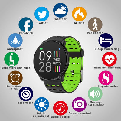 Smart Watch, Fitness Tracker Waterproof Smartwatch 1.3 Inch TFT Color Screen with Heart Rate Monitor, Activity Tracker Pedometer Sleep Monitor SMS Call Notification for iOS Android iPhone