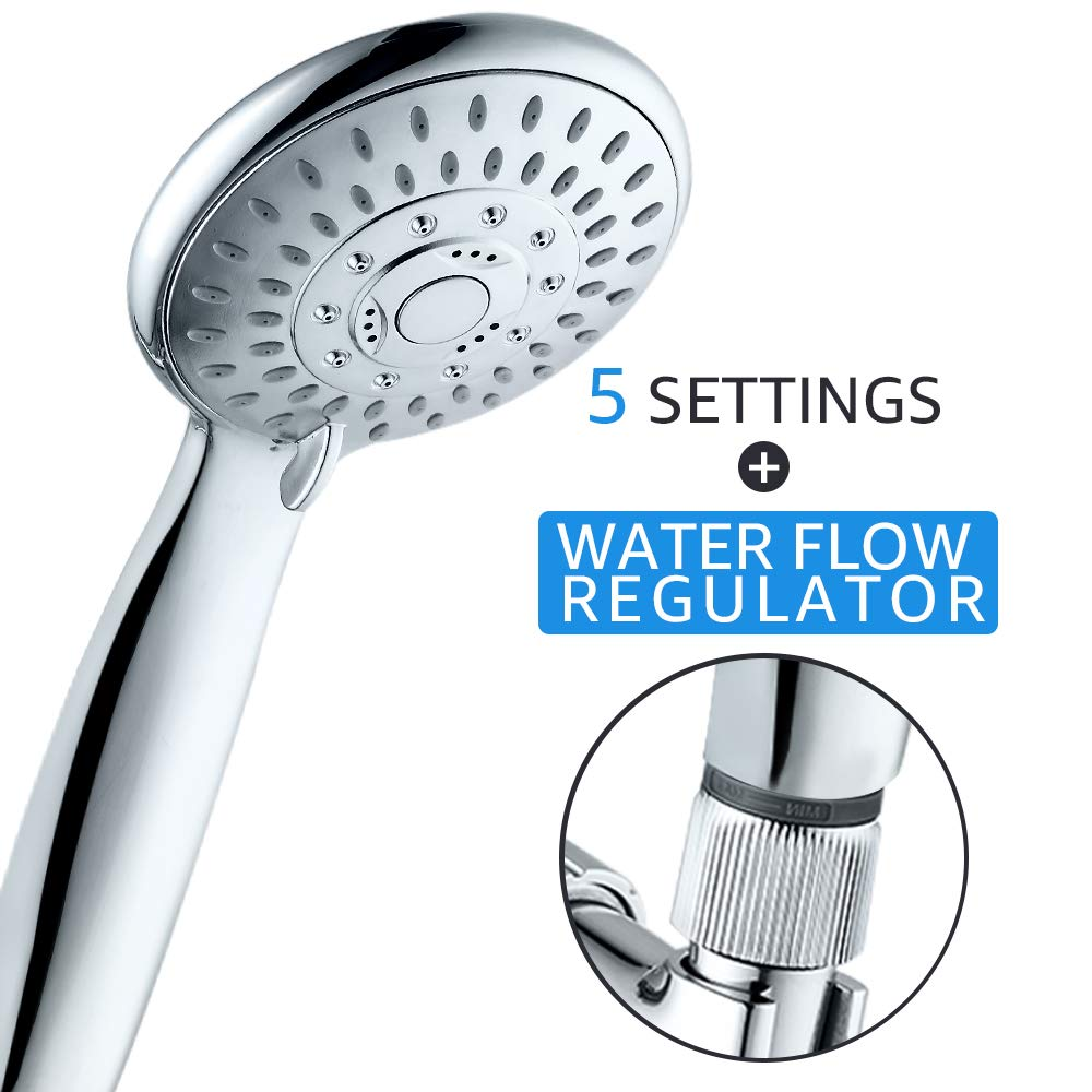 High Pressure Faucet 5 Settings Handheld Shower Head with Flow Regulator, Easy to Control Water Pressure and Water Flow, Shower Systems, Shower Head with Hose and Holder, Fog Surface Design