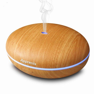 Essential Oil Diffuser Appreciis - Whisper-Quiet Cool Mist Humidifier - Enjoy Aromatherapy Experience with Your Favorite Scented Essential Oils - Ultrasonic Vaporizer with Excellent Mist Disperse Rate - Enlightening 7 Color Changing LED Lamp(Walnut Brown)