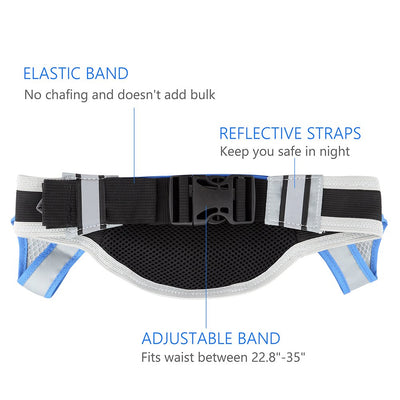 Running Belt, Hydration Belt with 2 BPA Free Water Bottles, Waist Pack Runner Belt for Running Hiking Cycling Climbing Camping Traveling, Fits iPhone 6 Plus, Samsung Galaxy S7, HTC, etc