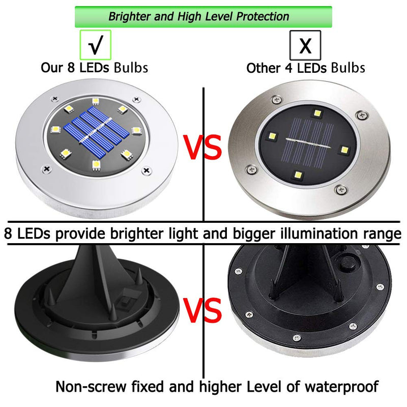 Solar Disk Lights Outdoor, 8 LED Bulbs Solar Ground Lights Outdoor Waterproof for Garden Yard Patio Pathway Lawn Driveway - Warm White (4 Pack)