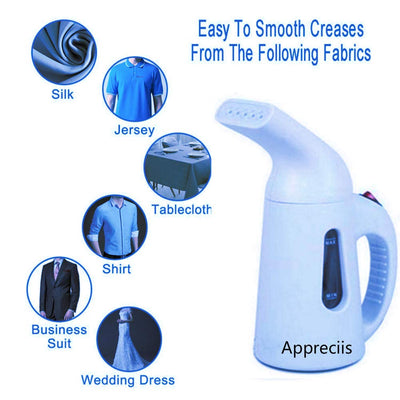 Appreciis Portable 900W mini handy clothes steamer garment for home/travel/Garment steamer electrick steam iron/Portable Fabric Steamer - Fast-Heating, Handheld Design Perfect for Home and Travel