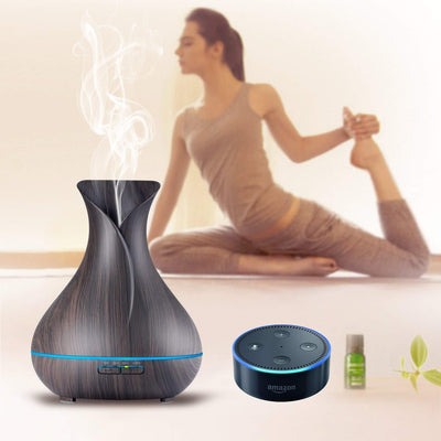 Appreciis 7LED Aromatherapy Essential Oil Diffuser 400ml Air Purifier Humidifier with Alexa and Echo Options - 400ml Wood Grain Electronic Smart Essential Oil Diffuser Aroma Diffuser with 7 Color LED