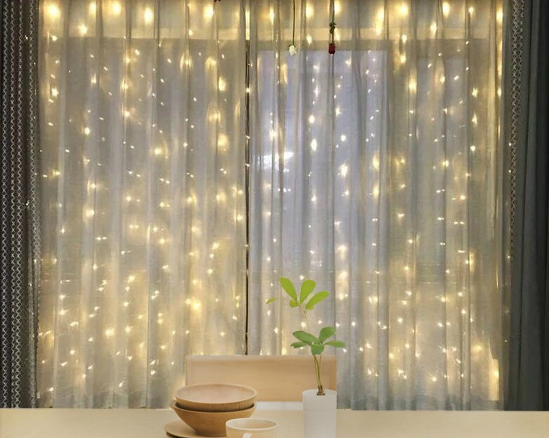 Star 600 LED Window Curtain String Light for Wedding Party Home Garden Bedroom Outdoor Indoor Wall, Warm White