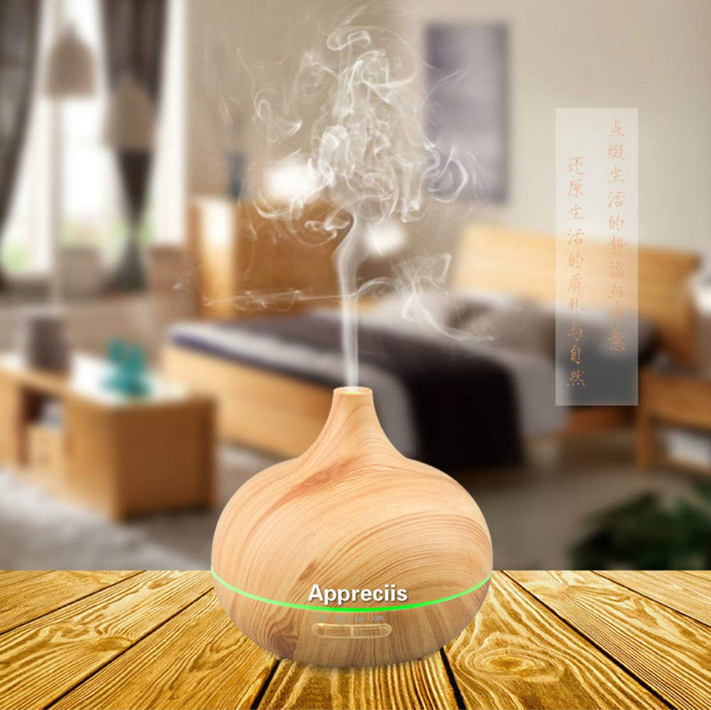Diffuser Humidifier, 300ml Aromatherapy Essential Oil Diffuser, 4 Timer Setting Cool Mist Aroma Diffuser (Up to 10H Use, BPA-Free, Waterless Auto-Off, 7 Color LED Lights)