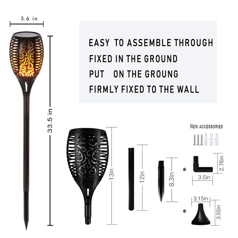 Solar Torch Lights Waterproof Flickering Flame Solar Torches Dancing Flames Landscape Decoration Lighting Dusk to Dawn Outdoor Security Path Light for Garden Patio Driveway