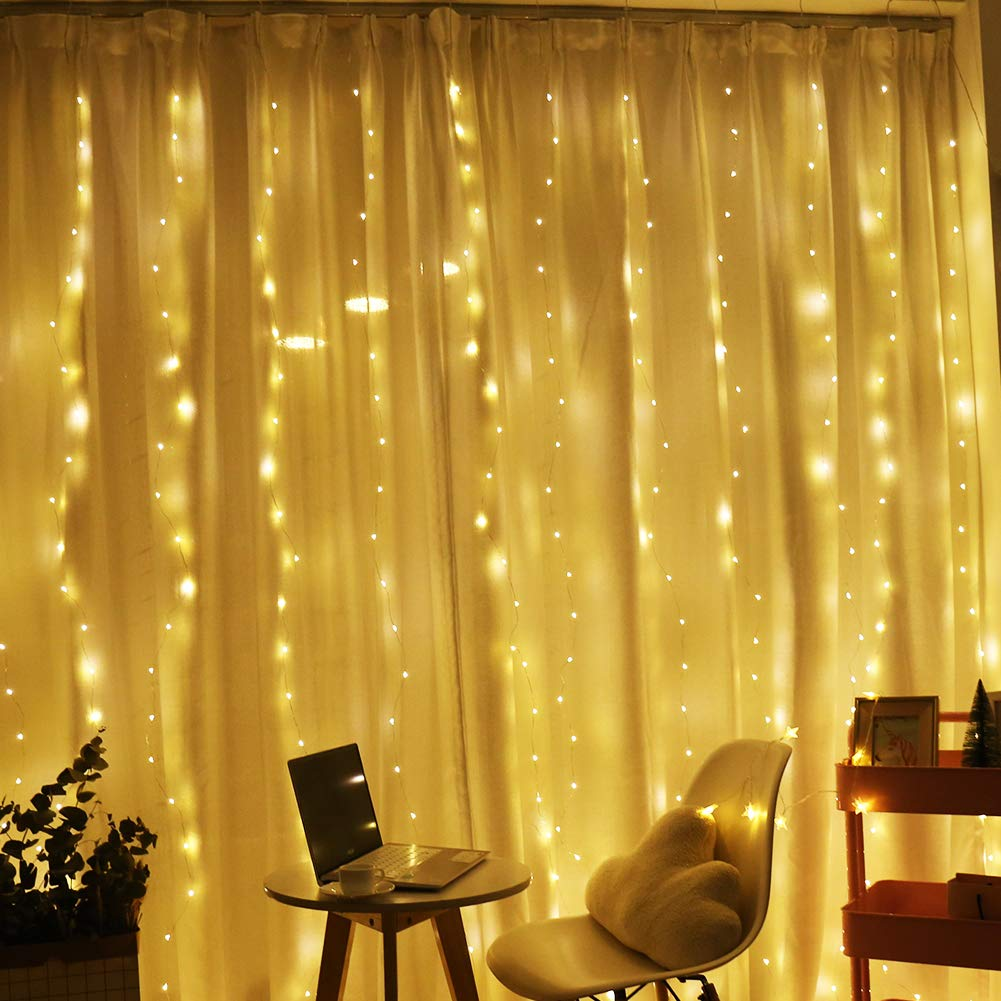 Window Curtain String Light, Plug in 300 LED Fairy String Lights Copper Wire Light, 8 Modes Icicle Lights for Bedroom Wedding Party Outdoor Indoor Wall Decorations (8.5x9.8Ft, Warm White)
