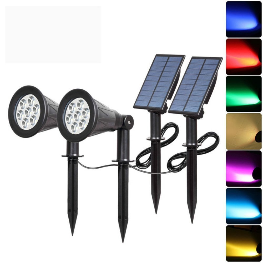 GXZOCK Solar Powered LED Outdoor Landscape Spotlight 7 led lamp beads color garden landscape light solar outdoor led spot light 2Pack