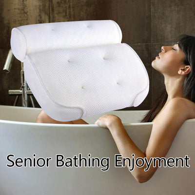 Non-slip Luxury Support Bath Pillow, Super Soft for Added Comfort Spa Bath Pillow,  Anti-Bacterial 3D Mesh Bath Tub Pillow