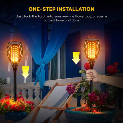 Upgraded Solar Lights 96 LED 42.9 Inch, Waterproof Flickering Flames Torches Lights Outdoor Solar Spotlights Landscape Lighting Dusk to Dawn Auto On/Off Security Torch Light (2 Pack)