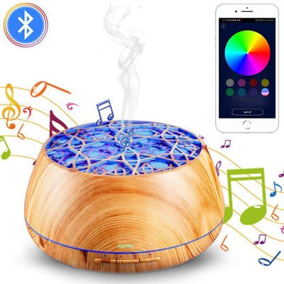 GXZOCK 400ml App Remote Controlled Essential Oil Humidifier Music Bluetooth Speaker Aroma Diffuser with Bluetooth Speaker,Humidify, purify, Aromatherapy, led Light, Decorate, Beautify Function