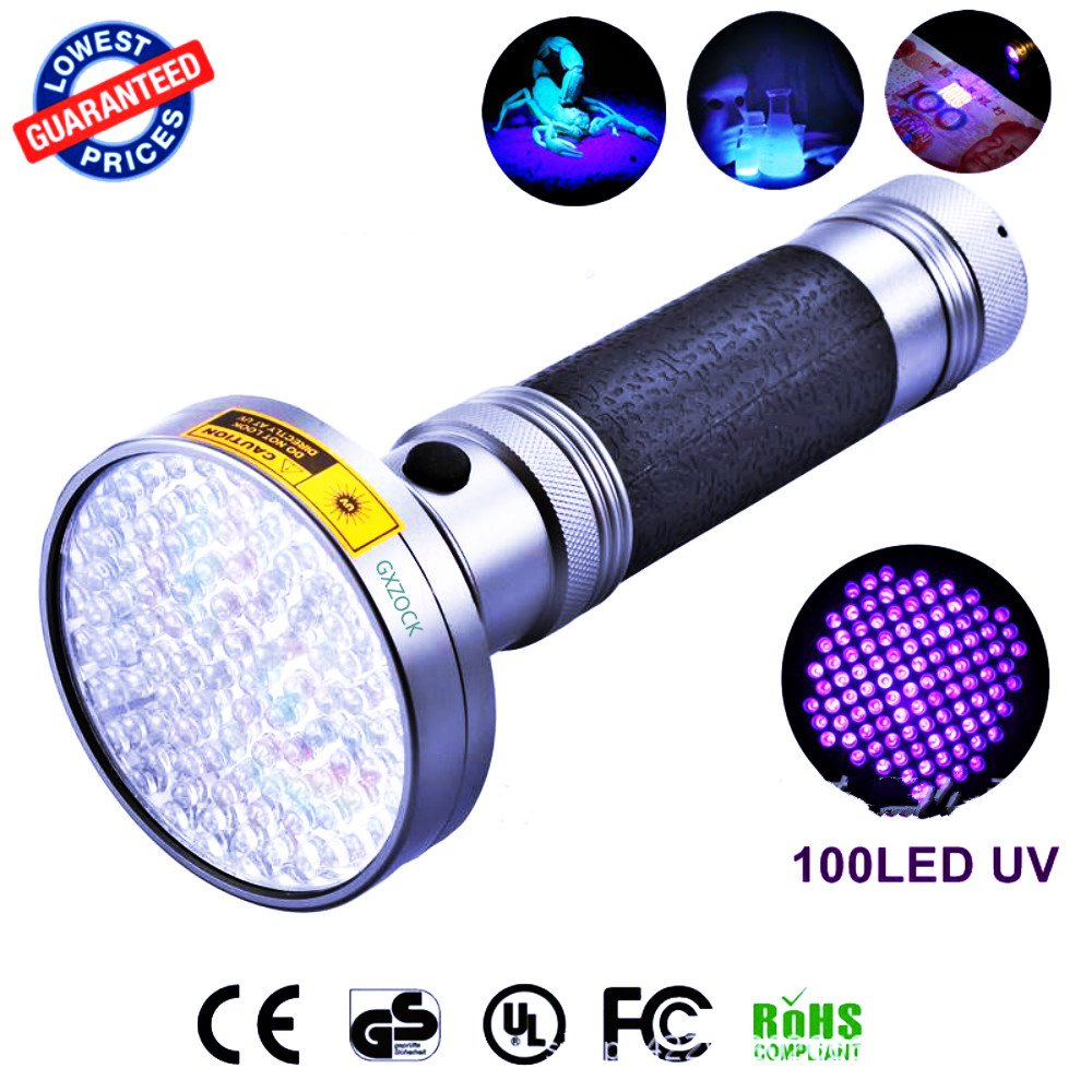 100 LED UV Blacklight Flashlight, 395nm Ultraviolet LED - with UV Sunglasses, Pet Cat Urine and Stains Detector Black Light, Scorpions, Mold & Leak Detector for Commercial or Home, Battery Powered