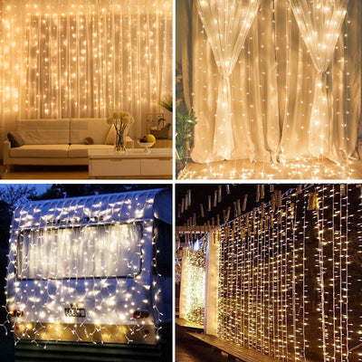 Star 300 LED Window Curtain String Light for Christmas Wedding Party Home Garden Bedroom Outdoor Indoor Wall Decorations (Warm White)