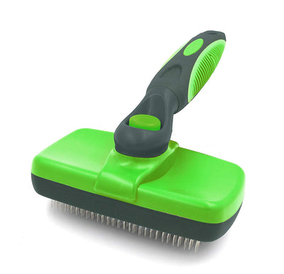Self Cleaning Slicker Brush-Pet Dog & Cat Grooming Brush- for Large to Small Dog or Cat With Short to Long Hair-Best Shedding Brush Helps Striping, Finishing, Detangling, & Deshedding (Green)