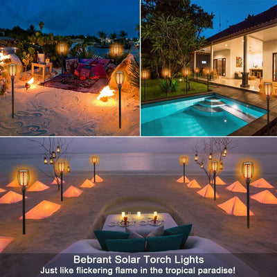 Solar Lights, Waterproof Flickering Flames Torches Lights Outdoor Landscape Decoration Lighting Dusk to Dawn Auto On/Off Security Torch Light  2 Pack