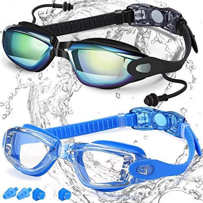 Swim Goggles, Pack of 2, Swimming Goggles No Leaking Anti Fog UV Protection Triathlon for Adult Men Women Youth Kids Child, with Mirrored & Waterproof, UV 400 Protection Clear Lenses