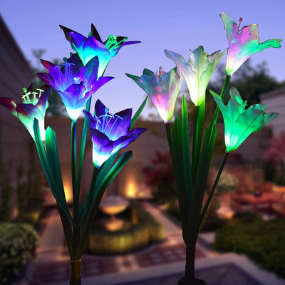 Outdoor Solar Garden Stake Lights 2 Pack Solar Flower Lights with 8 Lily Flower,Multi-Color Changing LED Lily Solar Powered Lights for Patio,Yard Decoration,Bigger Flower and Wider Solar Panel