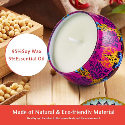 Scented Candles Gift Set, Natural Soy Wax 4.4 Oz Portable Travel Tin Candles Women Gift with Strongly Fragrance Essential Oils for Stress Relief and Aromatherapy - 4 Pack