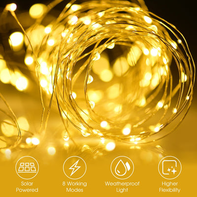 Solar String Lights, 33ft 100LED Outdoor String Lights, Waterproof Decorative String Lights for Patio, Garden, Gate, Yard, Party, Wedding, Christmas (Warm White)