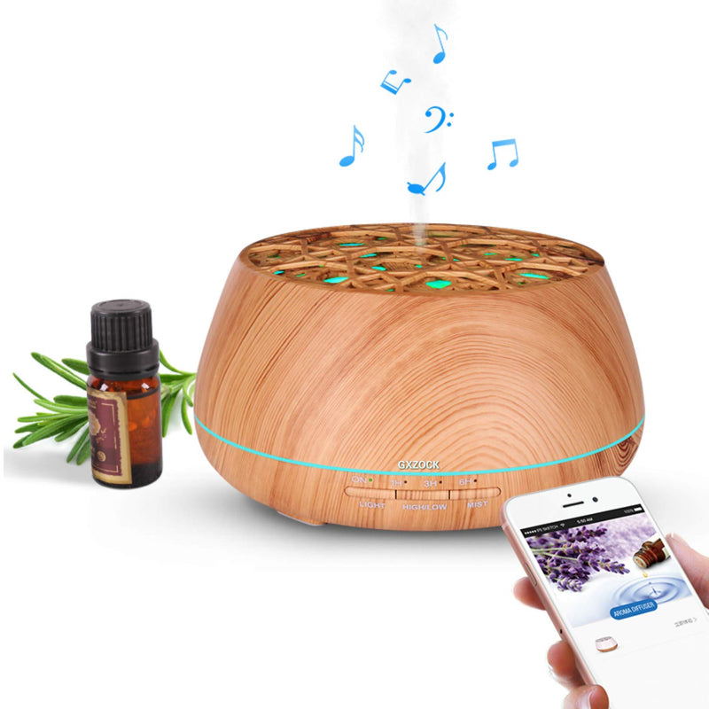 Aromatherapy Essential Oil Diffuser with Bluetooth Speaker, 400ml ultrasonic Aroma Diffuser,8 Colors LED