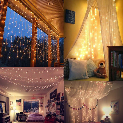 600 LED Window Curtain String Light for Wedding Party Home Garden Bedroom Outdoor Indoor Wall, Warm White