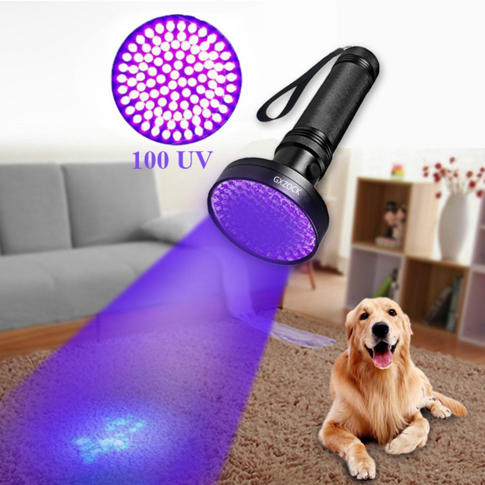 UV Blacklight Flashlight, with UV Sunglasses Super Bright 100 LED # 1 Best Powerful Black Light Flashlight 395NM Ultraviolet Urine Detector Flashlight for Home & Hotel Inspection, Pet Urine & Stain De