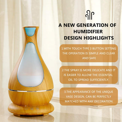 Aromatherapy Essential Oils Diffuser 400ml, Ultrasonic Cool Mist Humidifier Aroma Purifier, 7 Color LED Night Light