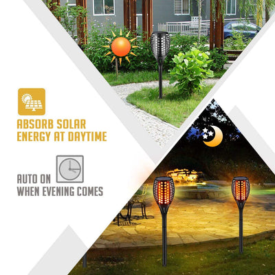 Solar Torch Lights Upgraded-42.9 inch Flickering Flames Solar Lights Outdoor Waterproof Landscape Decoration Lighting Dusk to Dawn Auto On/Off Garden Lights for Patio Pathway Driveway