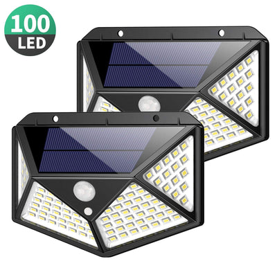 Solar Lights Outdoor 100 Led, Upgraded Super Bright Motion Sensor Light with 270° Wide Angle, Wireless Waterproof Security Wall Lights (2 Pack)