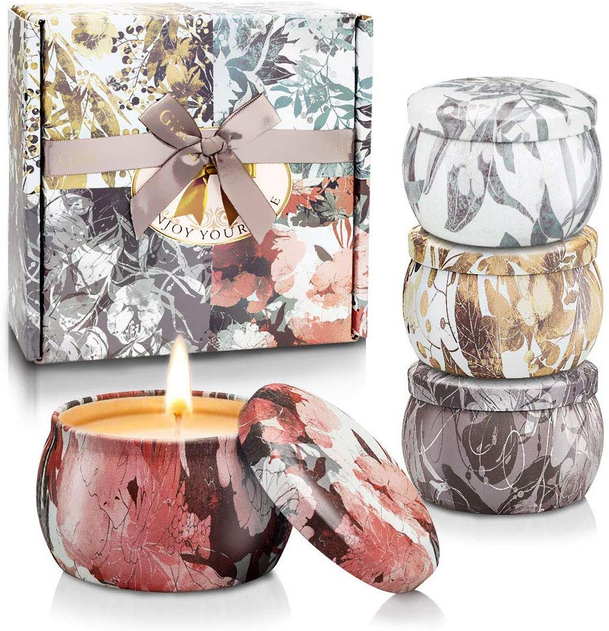 Scented Candles, Gift Set of 4 Pack, Freesia, Lavender, Rosemary and French Vanilla for Air Clean and Body Relaxation