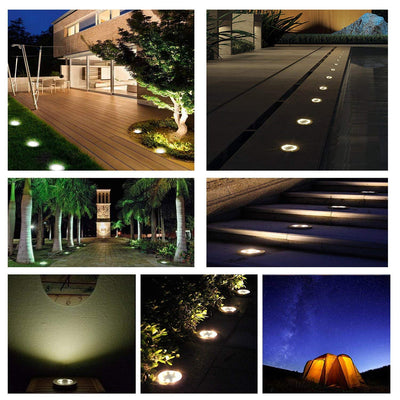 Solar Ground Light,8 LED Outdoor Pathway Lights,Waterproof Garden Landscape in-Ground Lights(4 Pack)