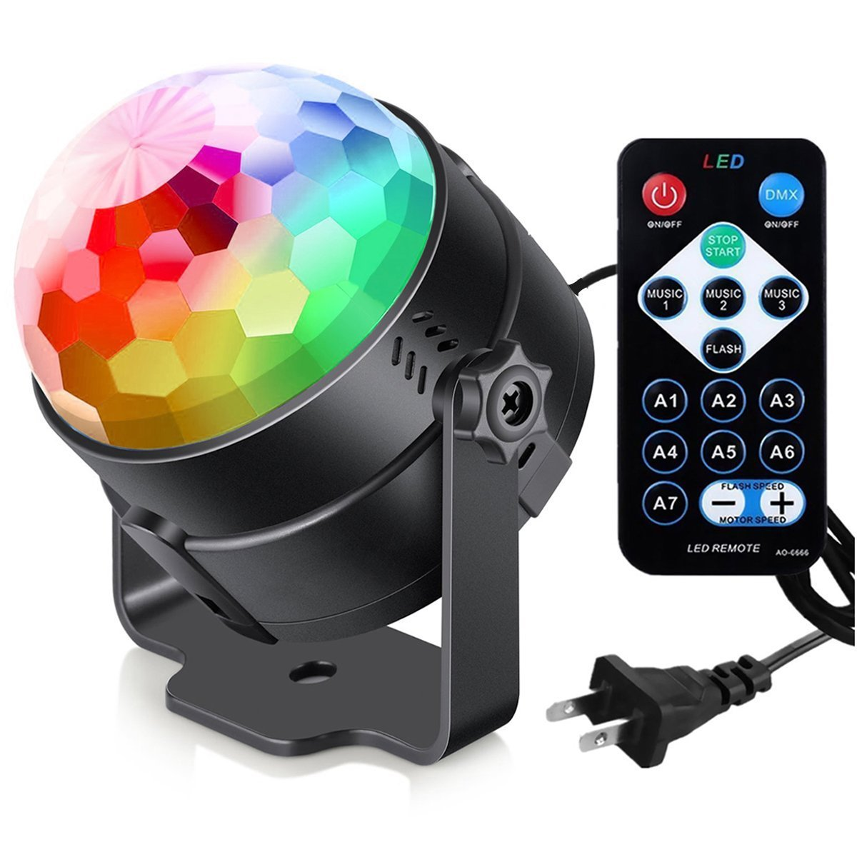 Disco Light Disco Ball LED RGB Party Lights Sound Activated Multiple Modes Supplies Strobe Light Dance Light for Kid, Parties, Bedroom, Birthday (with Remote)