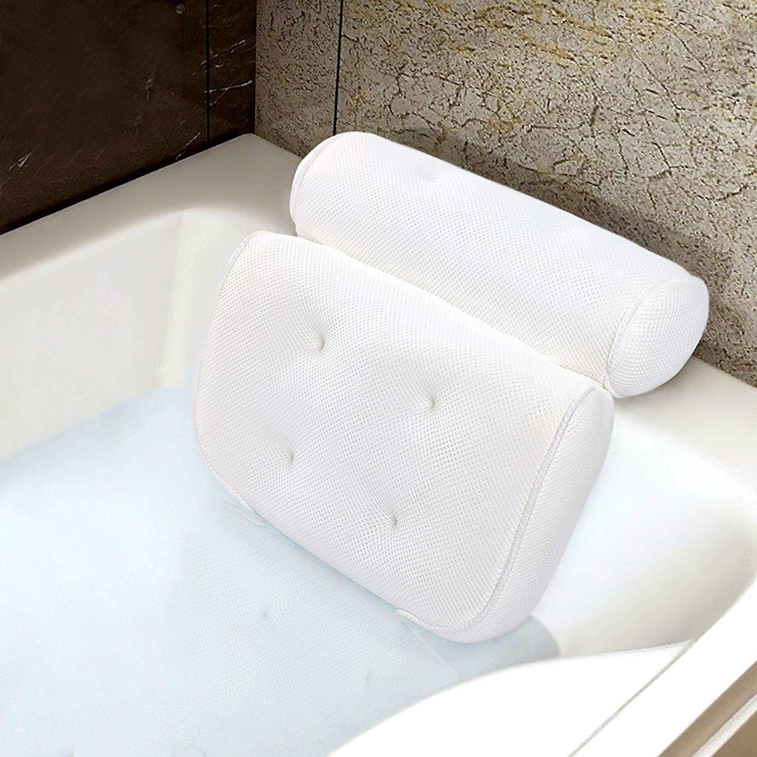 SPA Luxury Bathtub Pillow Big 3D Mesh Bath Pillow with 6 Suction Cups & Hang Hook Good Head Neck Back Support Quick Dry Anti-Mold, Gift Wrap